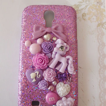 Kawaii Purple Glitter Samsung Galaxy s4 case with Purple girly cabochons including My Little Pony, Roses, Cameo, Pearls and Bling