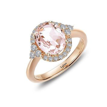 Lafonn Classic Sterling Silver Rose Gold Plated Morganite Ring (2.88 CTTW)