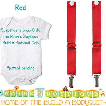 Red Noah's Boytique Bodysuit Suspenders - Snap On - Suspender Outfit - Baby Suspenders - Newborn Suspenders - Interchangeable