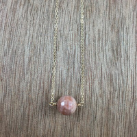 14k gold filled sunstone bead gold necklace / bridesmaid necklace / minimalist necklace / dainty necklace
