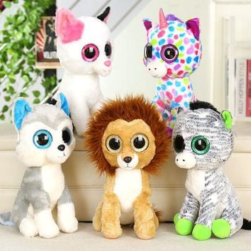 icottbaby Lovely TY Beanie Boos Big Eyes Unicorn Husky Cat Zebra Lion Stuffed Animals Toys Birthday Christmas Gift Plush Doll