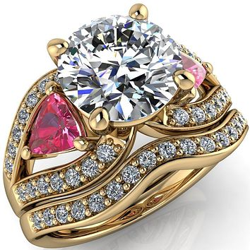 Kassandra Round Moissanite 4 Prong Trillion Pink Sapphire Side Split Shank Accent Engagement Ring