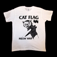 Black Flag Cat Flag MEOW WAR T Shirt Size MEDIUM by SleazySeagull