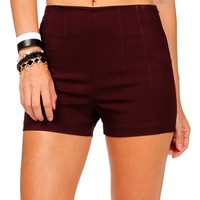 Plum High Waisted Side Zip Shorts