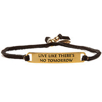 Ettika The Live Like Theres No Tomorrow Leather Bracelet in Black Gold