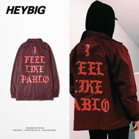 Men's I Feel Like Pablo Yeezy Season 3 Kanye West Heybig Light Trench Street Fashion Hip Hop Jacket