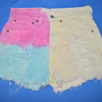 80s Levis 501 Denim Cut Off Rainbow Women's Shorts 28
