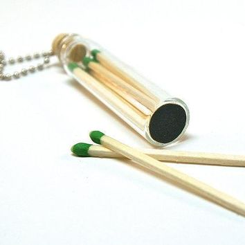 Bottle Necklace With Matches  Mini Glass Bottle With Wooden Match Sticks