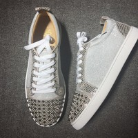 KUYOU Christian Louboutin red sole classic rivet shose Roller Boat CL classic Low Top Casual shoes