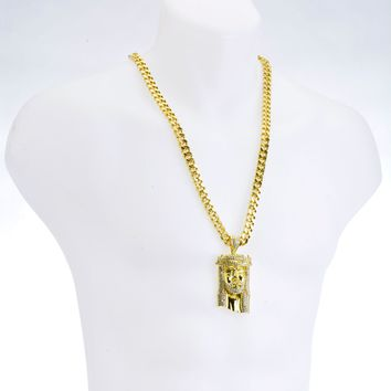 "Jewelry Kay style NEW Hip Hop G/S Plated Jesus Pendant 30"" Heavy Cuban Chain Necklace Set HC 6003"