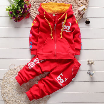 new spring/autumn baby Boy clothing set boy sports suit set children christmas outfits girls tracksuit clothes T shirt+pant