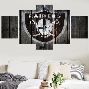 Football Team Oakland Raiders Logo Paintings Wall Art Home Decor Picture Canvas Painting Calligraphy For Living Room Bedroom