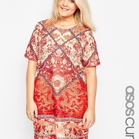 ASOS Curve | ASOS CURVE MixedTile Print T-Shirt Print Dress at ASOS