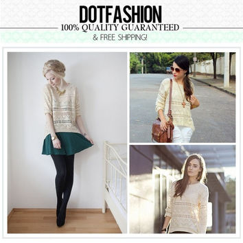 Beige Geometric Eyelet Embellished Knit Jumper Sweater one size (Size: M, Color: Beige) = 1919979588