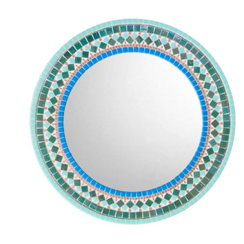 Round Wall Mirror for Bathroom, Mosaic Mirror, Teal Aqua Turquoise Wall Decor