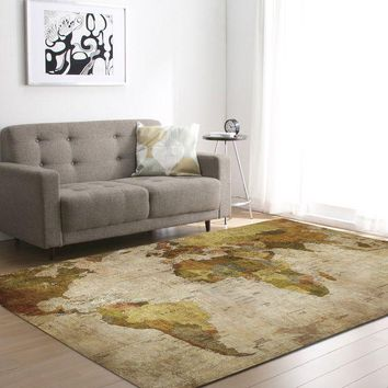 ac VLXC Living Room Carpet World Map Bedroom Pattern Floor Mat 121.9*182.9cm [118170189849]