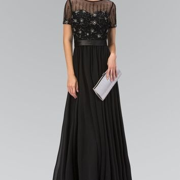 Long sleeve black evening gown  gls 2042