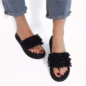 Women Fashion Rhinestones Beaded Thick Bottom Slippers Flats Shoes