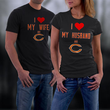 Bears,Chicago Bears Couples Shirt,  Bears Matching Couples tshirts,I love my Husband and the Bears Shirt,Wedding T Shirts,Valentine Gifts