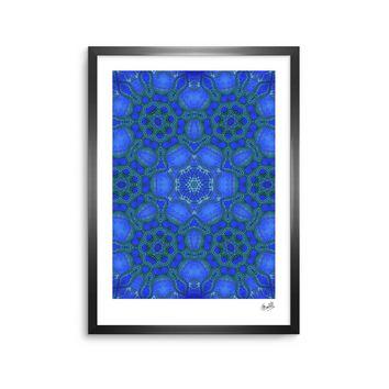 "Justyna Jaszke ""Blue Mandala"" Blue Abstract Pattern Digital Mixed Media Framed Art Print"