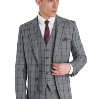 VENTUNO 21 SLIM FIT BLACK AND WHITE CHECK 3 PIECE SUIT