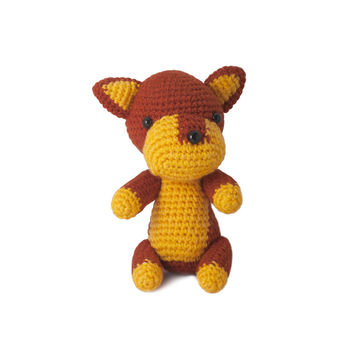 Brown-Yellow Dogs Handmade Amigurumi Stuffed Toy Knit Crochet Doll VAC