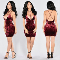 New Arrivals 2016 velvet Sexy Women backless Bandage Dress Party Off The Shoulder Mini dress spaghetti strap Slim Bodycon Dresse