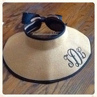 Monogrammed Ribbon Sun Visors, Ladies Roll-up Wide Brim Straw Sun Visor with Velcro Bow Closure