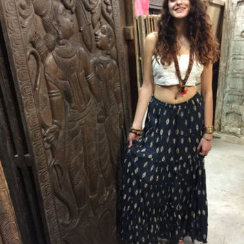 WOMENS MAXI SKIRT BLUE PRINTED FLARE BROOMSTICK ETHNIC LONG GYPSY HIPPY SKIRTS