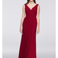 Faux-Wrap Pleated Chiffon Bridesmaid Dress - Davids Bridal