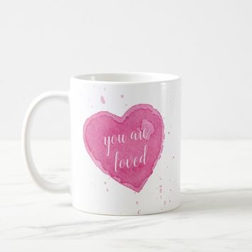 Watercolor Heart Illustration You Are Loved Mug