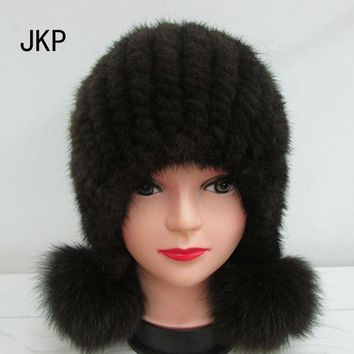 LMF9GW Hot sale real mink fur hat for women winter knitted mink fur beanies fox fur pom poms 2016 brand new thick cap