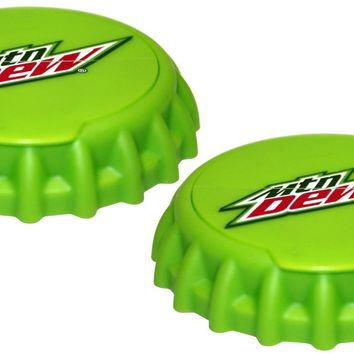 Mtn Dew Can Caps Beverage Top Covers - Lid Fits Beer & Soda Pop Cans - 2 Pack