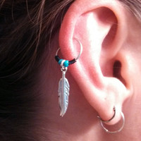 Silver Feather Cartilage Hoop Turquoise Beaded Earring Boho Tragus Helix Piercing