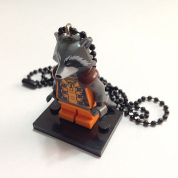 Lego® Guardians of the Galaxy Rocket Raccoon Necklace, BOGO Buy 1 Get 1 Lego® Minifigure Necklace Jewelry, LEGO Party Gift Giveaways