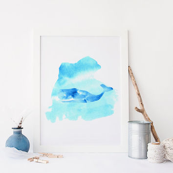 Watercolor Fish,Digital Wall Art,Sea Print,Watercolor Blue Print,Marine Life,Ocean Color,Digital Wall Art,printable Art,Home Decor,Ship art