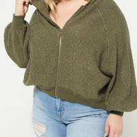 Plus Olive Flocked Knit Boxy Hoodie