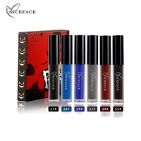 NICEFACE Waterproof Matte Liquid Lipstick Halloween Scary Waterproof Moisturizing Smoked Blue Black Red Lip Makeup Gloss Kits