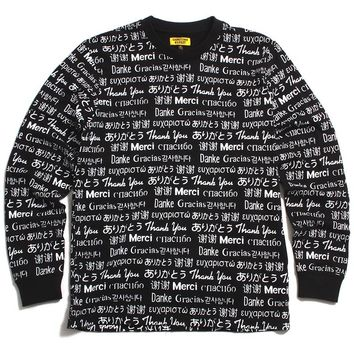 Multi Language Longsleeve T-Shirt Black