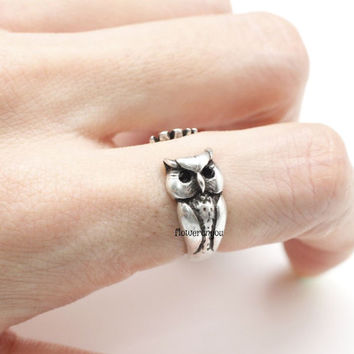 Owl Knuckle Ring, retro owl ring, dolphin ring, vintage ring, adjustable ring, animal ring, wrap ring, cute ring, owl