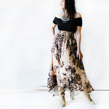 July sunset on the beach skirt\Silk woman skirt\Golden bej skirt\Floral pattern\Bohemian skirt\Waist skirt