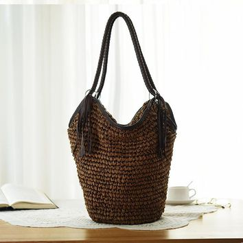 4 Color Straw Bag Women Beach Bag Hand-Made Woven Women's Shoulder Handbag Messenger Bags Solid Travel Purse Women bags Summer