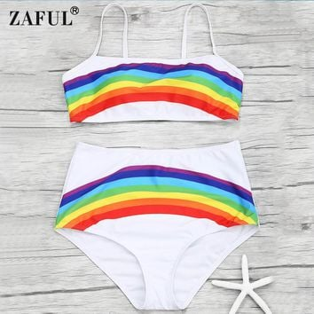 ZAFUL Rainbow Print Women Swimsuit  2018 Swimwear High Waisted Push Up Bikini Set Halter Top Beach Bathing Suits Swim Wear