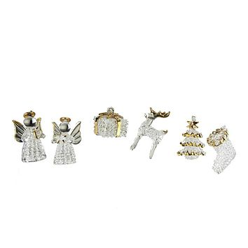 Glass Crystal Christmas Ornaments, 2-1/2-Inch, 6-Piece