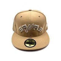New Era 59FIFTY San Antonio Spurs Peach Team Name Logo Fitted Hat