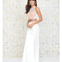 Madison James 15-102 Blush & White Embellished Two Piece Gown 2015 Prom Dresses