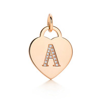 """Tiffany & Co. - Alphabet heart tag letter """"A"""" charm in 18k rose gold. Letters A-Z available."""