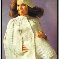 Vintage cape pattern PDF Instant Download poncho cape beret hat crochet shawl Coat Jacket cloak knitted supplies epsteam knitting pattern