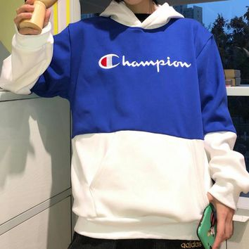 Champion Autumn Fashion Women Men Embroidery Hooded Velvet Sweater Top Sweatshirt Blue
