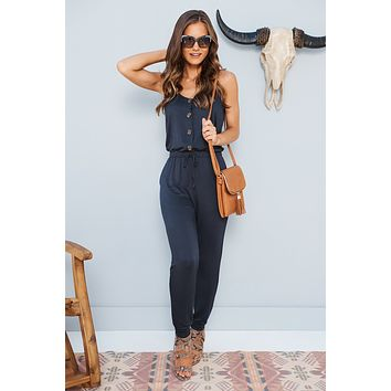 Can't Get Enough Jumpsuit (Midnight Navy)